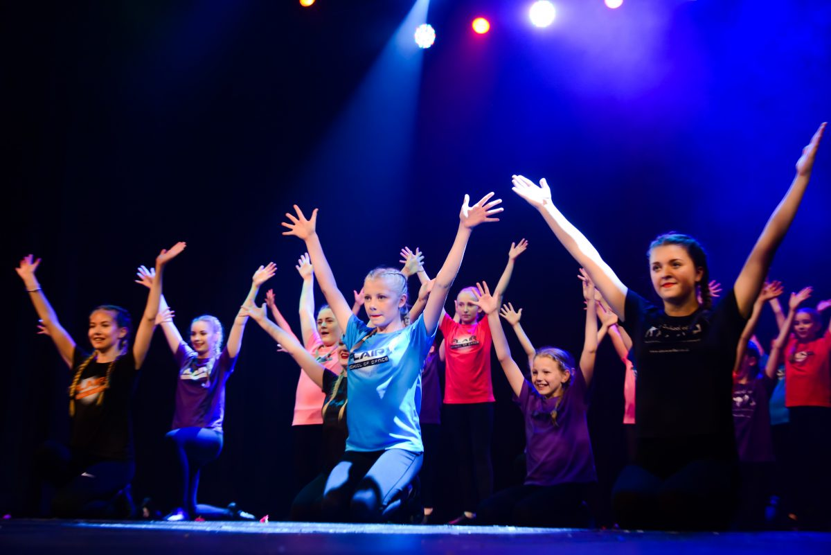 Flair Performing Arts students onstage at the Hazlitt Theatre, Maidstone